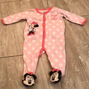 Pink Minnie Mouse snap button footie